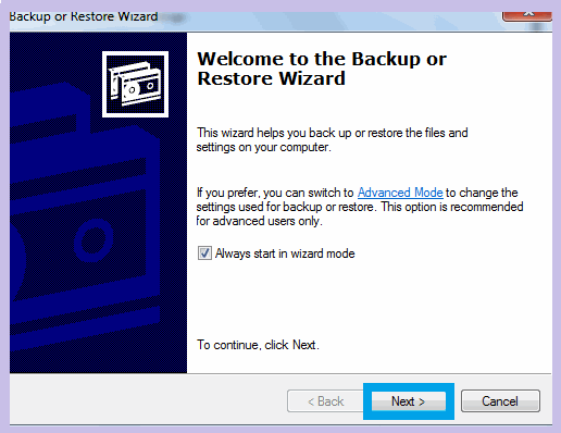 Restore Wizard for Windows Backup