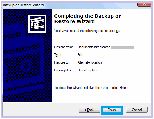 Successfully restore windows backup files